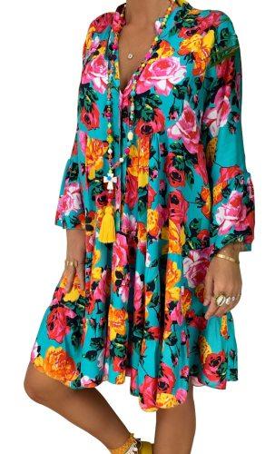 S-5XL Fashion Printed Plus Size Women Dresses Summer 2020 Long Sleeve Button Loose Mini Dress Big Swing Boho Dress Women Vestido