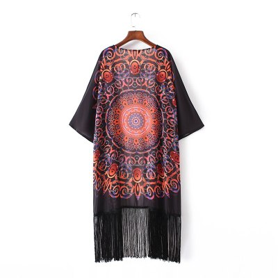Black Boho Printed Fringed Half Sleeve LongChiffon Kimono Plus Size Summer Beachwear Clothing Women Tops and Bloues Shirts A832