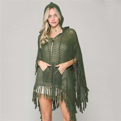 New Cover Up Beach Women Swimwear Hollow Crochet Bikini Cover Ups Loose Tassels Pareos Dolman Sleeve Beachwear