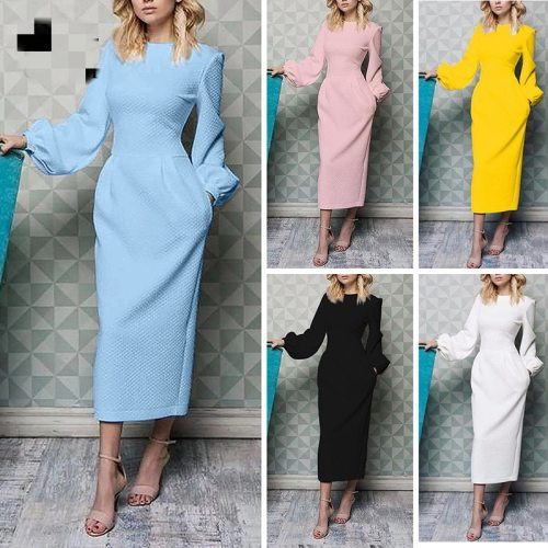 2021 Fashion New Women's Dress Long Sleeve Lantern Sleeve Round Neck Waist Dress Women's Elegant Solid Color Dress Vestidos