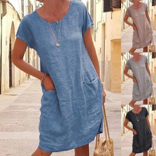 2021 Summer Autumn Women Casual Solid Color Short Sleeve O Neck Pockets Loose Cotton Linen Dress Women's Clothing vestidos