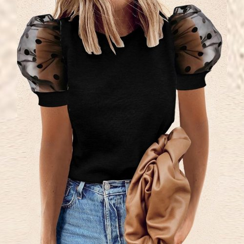Elegant Solid Color Diamond Blouse Shirts Women 2021 Summer Casual Puff Short Sleeve Pullover Tops Ladies Sexy Hollow Out Blusa