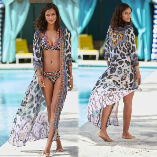 2021 New Black Boho Sexy Women Clothes Indie Folk Leopard V-neck Full Sleeve Summer Long Kimono Plus Size Lady Street Wear Q1245