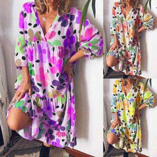 2021 Women Summer Stylish Casual Floral Print Long Sleeve  Dress Women's Clothing женское платье femme robe