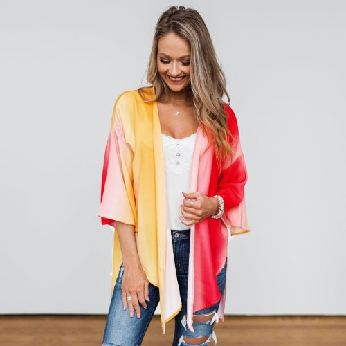 2021 Boho Tie Dye 3/4 Sleeve Front Open Short Kimono Plus Size Vintage Summer Clothing For Women Tops and Blouses Shirts A823