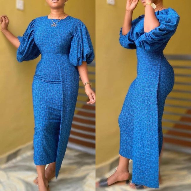 Women Print Long Dress O Neck Puff Sleeves Slim Party Occasion Elegant Classy Modest Female African Fashion Vestidos Robes Gowns
