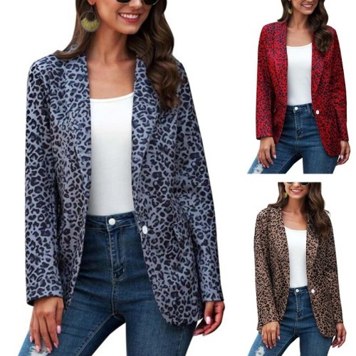 Women Autumn Lapel Blazer Jacket Vintage Leopard Print One Button Business Coat 2020 Office Lady Casual Long Sleeve Slim Outwear