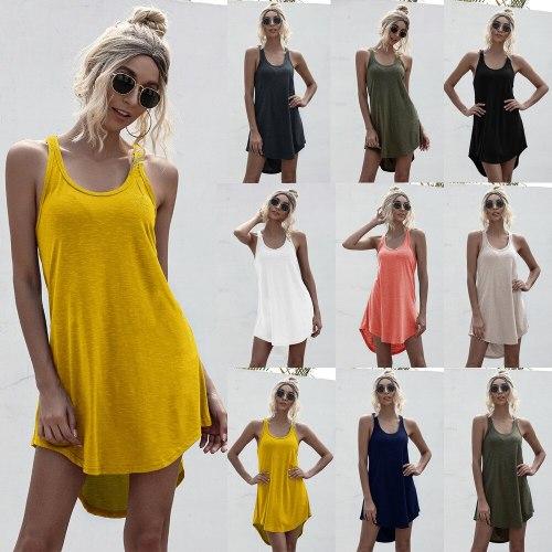Women Sleeveless Mini Tank Dress O Neck Asymmetry Summer Fashion Loose Dresses 2021 Casual Sexy Robe Female Dress Vestidos
