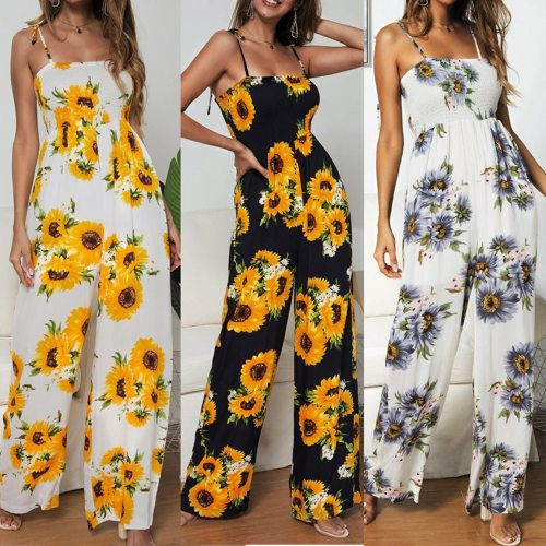 2021 Female New Product Sunflower Print Tie Jumpsuit Sexy Off Shoulder Sleeveless Holiday Style Rompers Women Backless Overalls
