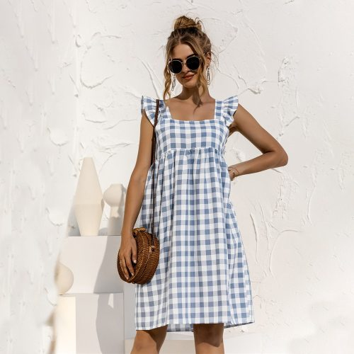 Women's Summer Dress Ruffles Black Plaid Casual Loose Square Collar Folds Beach Sleeveless Mini Dress Woman Vacation 2021