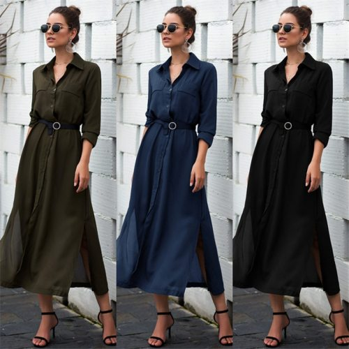2021 Fashion hot sale Elegant Womens Dress Fashion Solid Color Button Pocket Dress Office Lady Seven Sleeve Dress New Autumn