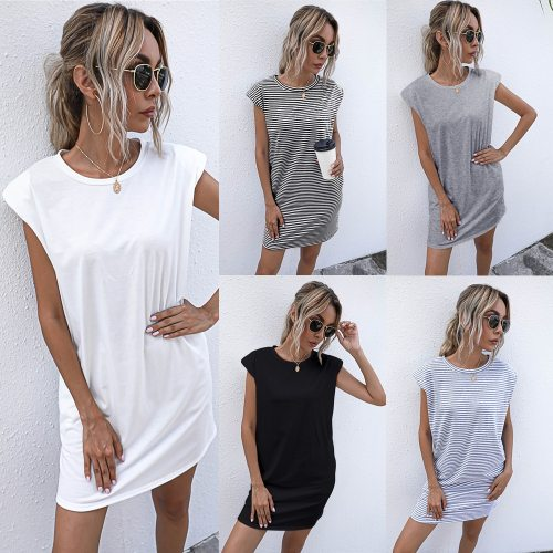2021 Summer Women Dress Vintage Shoulder Pads Solid Party Dress Casual Sleeveless Elegant Lady Sexy Mini Dresses Femme Robe
