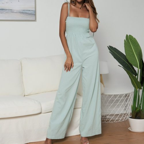 Women Solid Color Jumpsuit High Waist Rompers Boho Green Pink Spaghetti Strap Wide Leg Pants Female Summer 2020 Jumpsuits Ladies