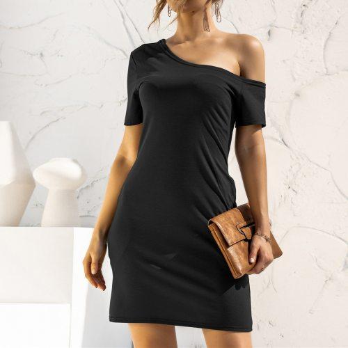 4# Off Shoulder Women's Dresses Sweet Kawaii Vintage Dresses Loose Short-sleeved Strapless Irregular Pocket Dress Vestido