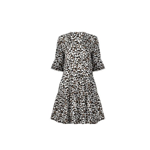 Casual Women Summer Mini Dress Strappy Half Sleeve V Neck Leopard Dresses Elegant Solid Print Ruffles Clothing