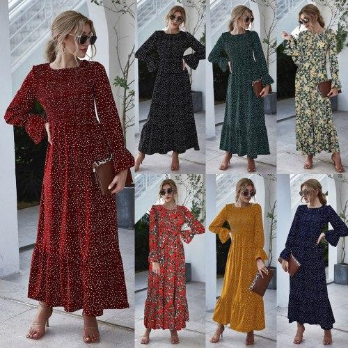 Women Long Sleevel Dot and Floral Printed Boho Dress Evening Party Beach Sundress Summer Beach Maxi Dress Women   8.3