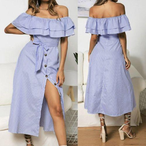 Women Summer Beach Off Shoulder Striped Ruffle Button BOHO Midi Dress S / M / L / XL