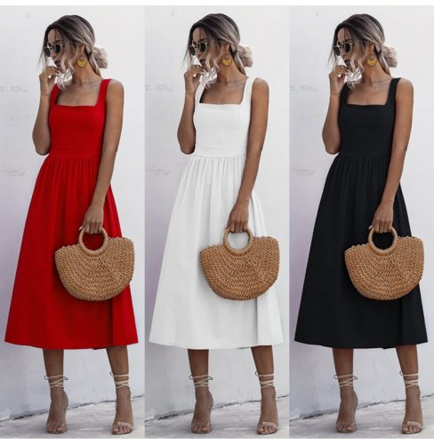 Women Long Dress Pleated Spaghetti Strap Clothes Sexy Backless Casual Summer Ruched Slip Midi Sundresses 2021 Ladies White Black
