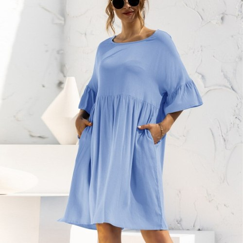 Summer O-Neck Flare Sleeve Loose Dress Women Solid Color Casual High Waist Pockets Elegant Sweet Party Dress