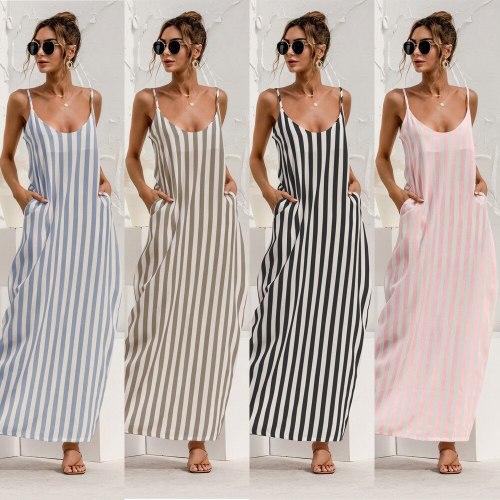 Suspenders Striped Backless Loose Big Swing Beach Dress Women Fashion Off Shoulder Sleeveless Summer Dresses  Blue Vestidos