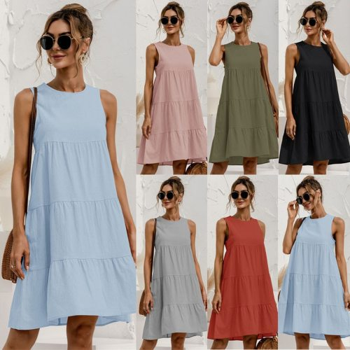 Elegant Maxi Dresses Women Casual Tank Dress 2021 Women's Summer Sundress Sleeveless Vestidos Female Plus Size Loose Robe Femme