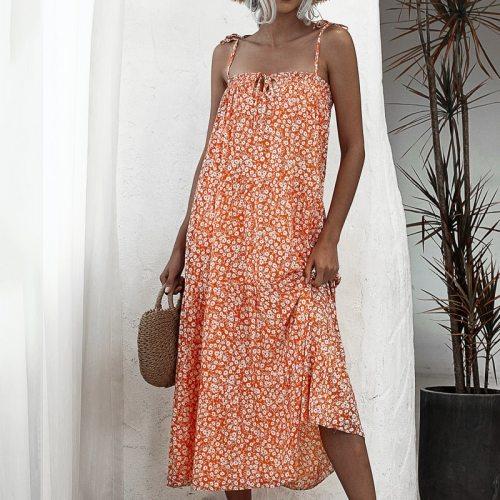 Summer Elegant Sexy beach long Dress Women 2020 Halter Strap Print  Floral boho maxi Dress for womens a-line Sleeveless dress