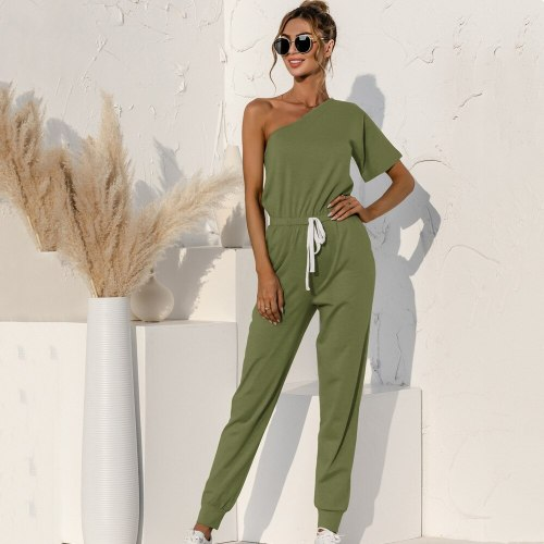 Short-Sleeved Oblique Shoulder Jumpsuit Women's Lace-Up Pocket Off Shoulder Summer Casual Jumpsuits Solid Color Ladies Rompers