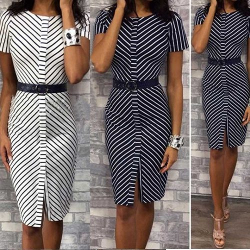 Women Dress Vintage Plus Size Stripe Pritn O-Neck Knee Dress Fashion Dress Summer Casual Loose Female Elegant Dress Office Lady