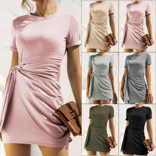 Women Dresses Short Sleeve Skin-friendly Polyester Fiber Solid Summer Dresses for Summer Streetwear Dress