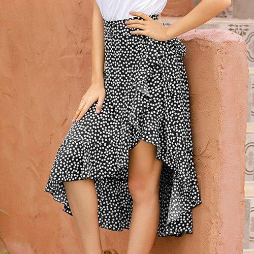 Summer Skirts Womens 2020 Casual Print High Waist Mid-length Chiffon Ruffle Boho Maxi Skirt Woman Split Sexy Skirts Female #612