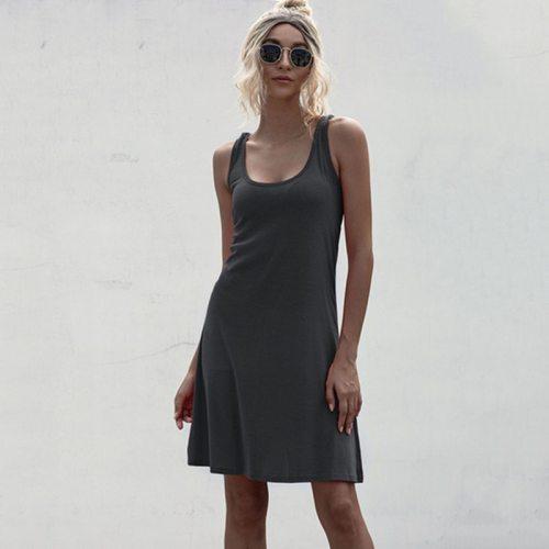 Woman Dress 2021 Summer Women's Sleeveless Sexy Black Dark Gray Pink Green Dress robe femme