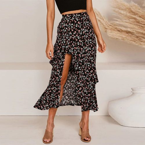 Women Ruffle asymmetric Floral Print High Waist Skirts Woman Summer Elegant Casual Boho Long Skirts Beach Holiday Female Skirts