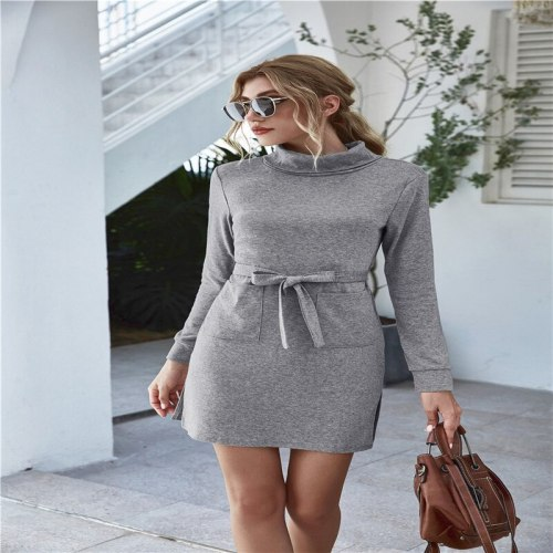 Hot sale Fashion Summer A dress with a high neck and long sleeves and pockets Solid Color Elegant Summer Dress 2020 Beach Midi