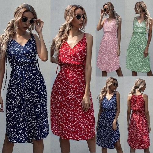 Casual Elegant V-neck Print Women Dress 2020 Summer Spaghetti Straps Slim Midi Dress for Ladies