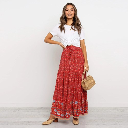 Summer Women New Vintage Floral Print Skirts Boho Casual Loose High Waist Stretchy Lace Up Decor Cotton Long Skirts Female
