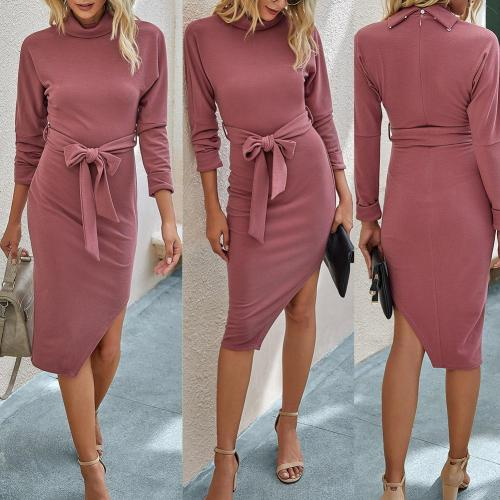 Women Sexy Slim Long Sleeve Irregular Side Solid Color Bandage Bodycon Long Dress Dance Party Costum