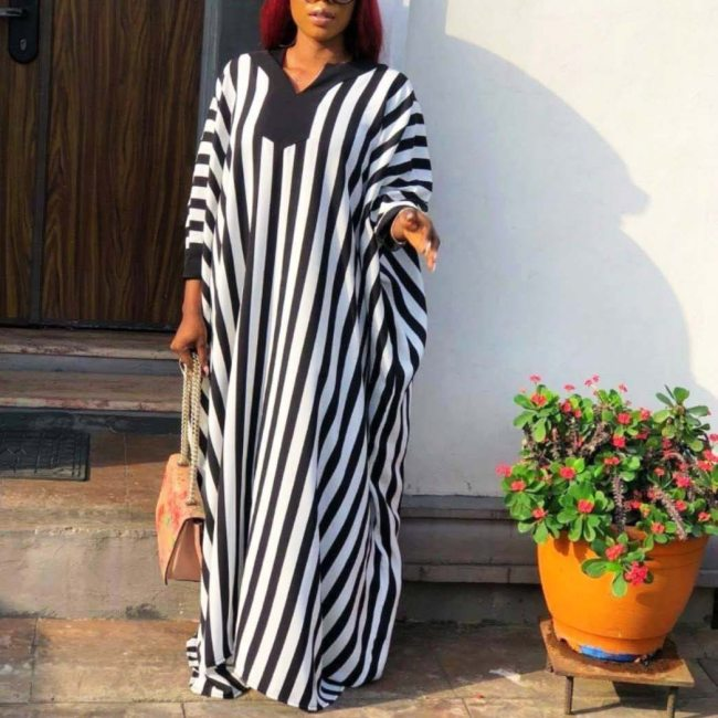 Women White Black Loose Kaftan Dresses V Neck African Fashion Spring Summer Long Plus Size Ladies Robes Oversized Celebrate New