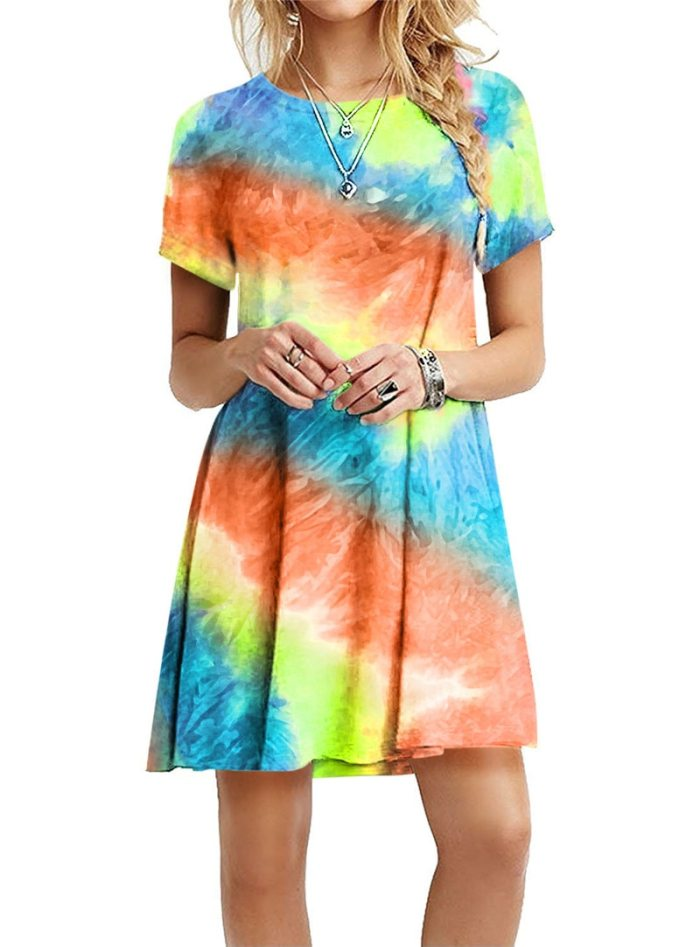 Plus Size S-5XL Gradient Print Women Dress Sundress New 2021 Short Sleeve Rainbow Tie-Dye Loose Casual Party Mini Dress Vestidos