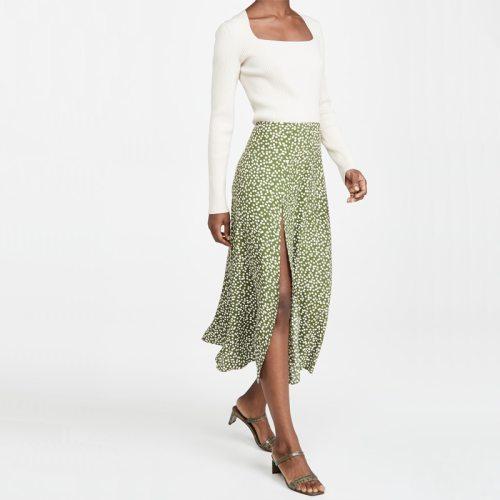 Summer Women'S Casual Polka Dot Print High Waist Split Skirt