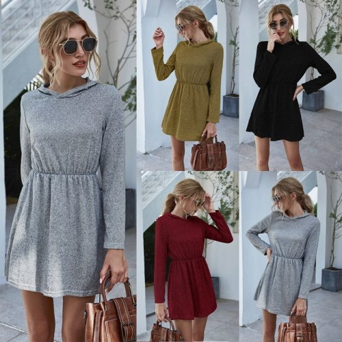 Leosoxs Fashion Long Sleeve Hooded Women's Mini Dress Spring Autumn 2020 New Casual Solid Knitting Elastic Waist Ladies Dresses