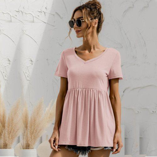 Women t shirt 2021 Summer Tops V-Neck Short Regular Sleeves Loose Long Solid Classic Casual Women's A-line T-shirt