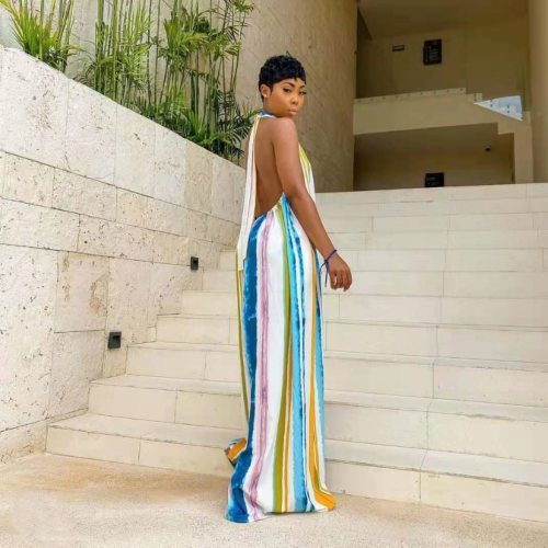 Women Printed Striped Jumpsuit Wide Leg Halter Loose Backless Summer Beachwear Casual Holiday Oversized Vacation New Sleeveless