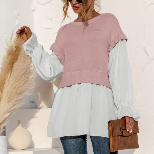 Women Fake Two-picecs Splice Blouse Shirt Spring O Neck Long Sleeve Drop Sleeve Mid-long Fashion Casual Tops Tee Girl Streetwear