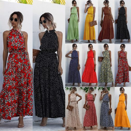 Women Boho Floral Long Dress Ladies Holiday Summer Beach Maxi Dress Polka Dots Halterneck Bandage Dresses