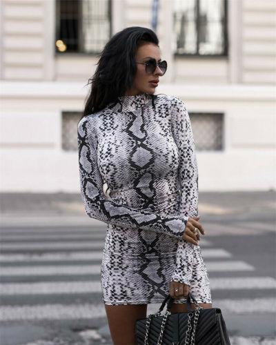 Sexy Women Turtleneck Long Sleeve Leopard Print Dress Snake Skin Evening Party Clubwear Dress Bodycon Fashion Women Dress