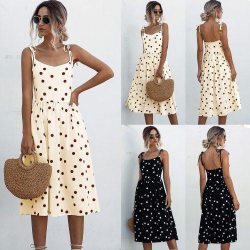 2021 Summer Polka Dot Sleeveless Dresses Women Off Shoulder Vintage Elegant Sexy Party Midi Dress Beach Casual Boho Dress Femmen