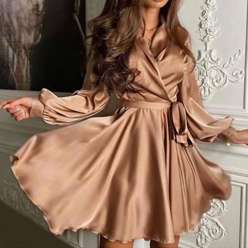 Sexy V-neck Lantern Sleeve Mini Woman Dress Ladies Elegant A-line Sashes Dress Chic Cozy High Waist Dress Party Dress Vestidos