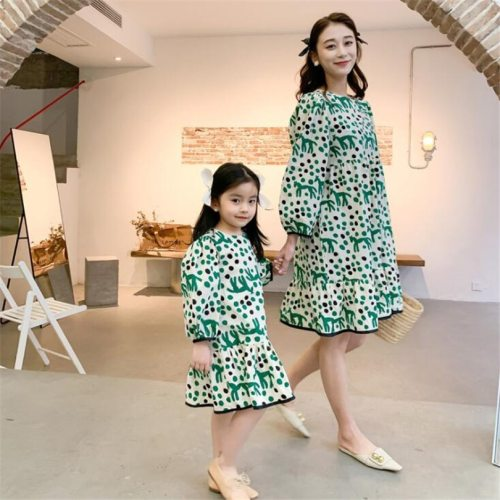 Family Matching Clothes Spring 2021 Mother Daughter Dresses Long Sleeve Floral Mom And Daughter Clothes Mommy And Me Clothes