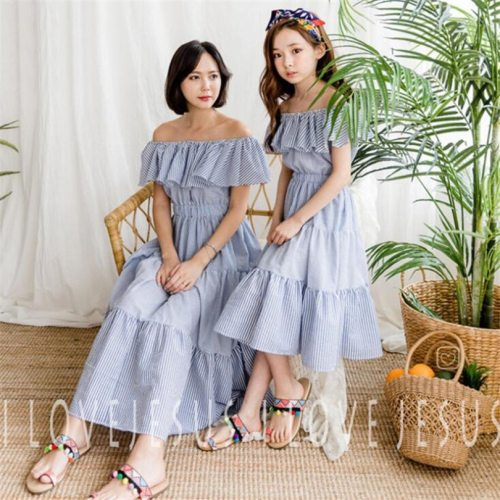 Mother Daughter Dresses Summer Family Matching Clothes Ruffle Stripe Beach Mommy And Me Clothes Dress Mom And Daughter Dress