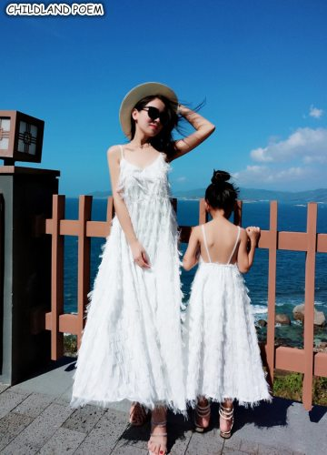 Mother Daughter Dresses Beach Chiffon Mommy And Me Dress Clothes Family Look Mom And Daughter Dress Family Matching Clothes